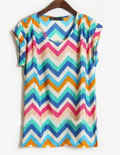 Blue Round Neck Short Sleeve Print Chiffon Shirt