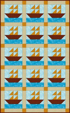 Step 1. Sew a Cute Sailboats Quilt for Baby: About the Sailboats Baby Quilt.