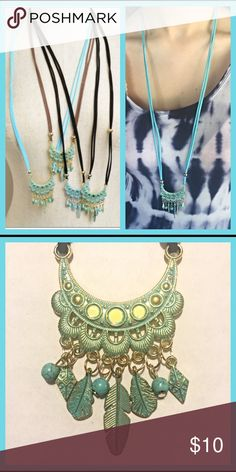 "Boho drop leaf turquoise/gold blue cord necklace Boho style drop leaf turquoise & gold tassel necklace with aqua blue double soft brushed 18"" cord/chain. One aqua blue cord necklace. Jewelry Necklaces"