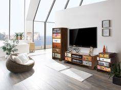 #Wohnwand 3-Teilig Milano - Mango/MDF/Jute/Canvas/Leder/#Holz - lackiert