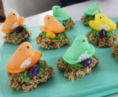 "Adorable #peeps marshmallows on top of ""nests"" with jelly bean eggs. Perfect for #easter. #recipe"