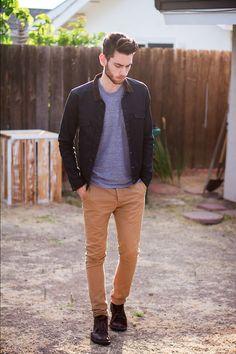 Heather gray tee, jacket, khaki skinny pants, leather lace-ups | FΛSHION FEVER