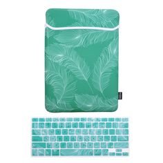 Amazon.com: Case Star ® Feather Series Green Color with White Feather 13-13.3 Inch Neoprene Laptop Notebook Ultrabook Sleeve Case + Feather Silicone Keyboard Cover Skin for Macbook Pro Air 13-Inch/13.3-Inch for Macbook Pro Air 13-Inch/13.3-Inch (Green Color with White Feather Sleeve + Aqua Blue with White Feather Skin): Computers & Accessories