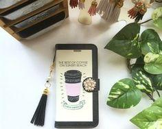【pajour 】リゾート カフェ ×フラミンゴ 柄 手帳型 スマホケース【iPhone】【手帳】【コーヒー】【秋冬】