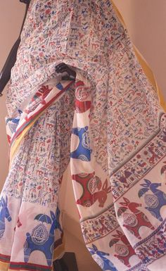Warli block print on cotton saree -Sarees-Artkarte