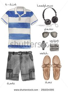 Men Fashion Outfit. Hand drawn Watercolor Summer Clothing Set.