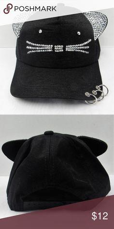 7b7cecb9322 Black Kitty Cat Ears Bling Studded Baseball Cap