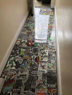 Marvel laminated floor This basement was currently split into two rooms, an office and a TV room. Comic Book Rooms, Comic Room, Geek Room, Game Room Decor, Game Room Bar, Game Room Design, My Room, Sweet Home, House Design