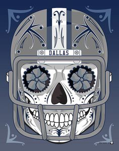 """Dallas Cowboys"" Sugar Skull Day of the Dead Calavera Print Inspired by the professional football team"