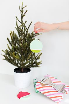 DIY: Modern Color-Block Ornaments