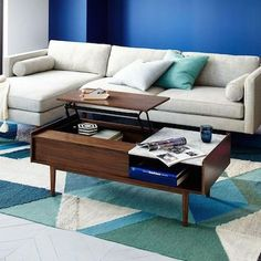 Mid-century pop-up storage coffee table from West Elm