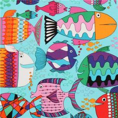 turquoise comic fish animal fabric by Timeless Treasures