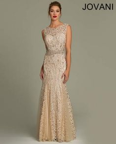 Beautiful nude-gold mermaid dress for mother of the bride 2014 by Jovani