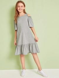 Product name: Girls Cold Shoulder Ruffle Hem Heathered Grey Dress at SHEIN, Category: Girls Dresses Colorblock Dress, Belted Dress, Gray Dress, Striped Dress, Striped Tank, Ribbed Knit Dress, Rib Knit, Tee Dress, Babydoll Dress
