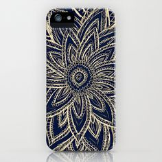 Cute+Retro+Gold+abstract+Flower+Drawing+on+Black+iPhone+&+iPod+Case+by+Girly+Trend+-+$35.00