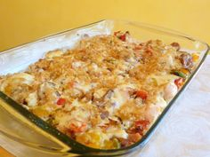 SPLENDID LOW-CARBING -   CREAMY CHICKEN, PEPPERS, ONION AND SAUSAGE CASSEROLE - Comfort food.