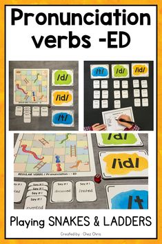 """Pronouncing the ending -ED is always difficult for ESL students. With this game, they will practice while playing the famous game """"Snakes and Ladders""""."""