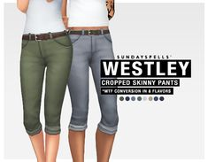 The Sims 4 | sundayspells: westley cropped skinny pants converted from bg | CAS clothing bottoms female adult everyday