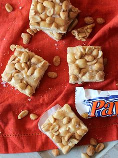 Homemade Payday Bars No bake!:16 oz salted dry roasted peanuts 2 cups peanut butter chips 3 Tbsp butter 1 (14 oz) can sweetened condensed milk 1 (10.5 oz) bag mini marshmallows 1-2 tbsp flaked sea salt: Sprinkle 1/2 peanuts in Buttered 9X13 pan microwave chips w/butter, add milk, microwave, fold in marshmallows, pour over nuts, sprinkle nuts  salt on top, chill