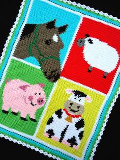 Crochet Patterns-BARNYARD FARM ANIMALS-COLORFUL (Horse/Sheep/Pig/Cow) SCRAP YARN