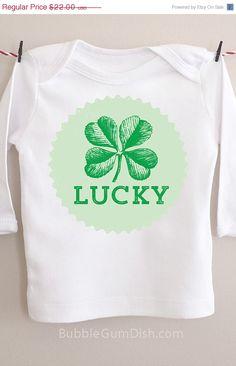 #50PERCENTOFF #SALE #LimitedEdition #Lucky #StPatricksDayBaby #StPatricksDay #StPattysDay #IrishShirt #LuckyBabyShirt #Shamrock by BubbleGumDish.com on Etsy