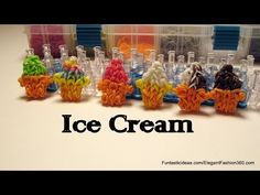 Rainbow Loom ICE CREAM with CAKE CONE Charm. Designed and loomed by Elegant Fashion 360. Click photo for YouTube tutorial. 04/26/14.