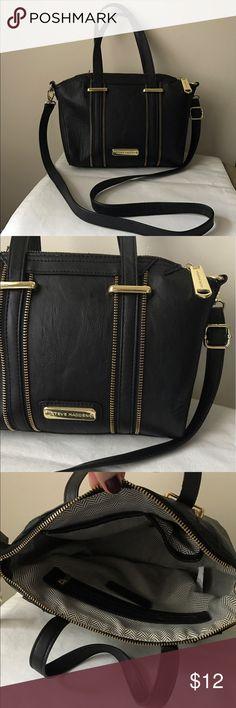 "Steve Madden black vegan leather bag Black vegan leather bag - gold tone hardware - top zipper closure - dual carry handles - detachable crossbody strap - clean inside and out - 10"" x 9"" x 4"" Steve Madden Bags"