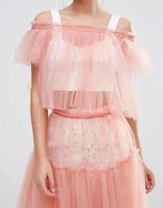 Unique Bridesmaid Outfit Ideas According to Your Wedding Theme - $38 True Decadence Bardot Tull Crop Top And Matching High Waisted Skirt In Baby Pink