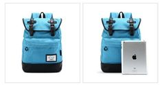 kmbuy - Unique Vintage Preppy Style Unisex Casual Fashion Colleague School Travel Backpack Bags with 15 inch Laptop Lining (42cm*30cm*12cm) (blue) - Click image twice for more info - See a larger selection of boys teens backpacks - kids, boys, little boys, school supplies, kids fashion , teenager, bags.