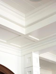 Living room copper ceiling trim on ceiling above crown Shiplap tray ceiling