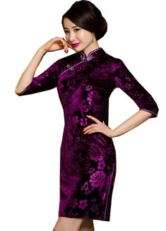 Shanghai Story Chinese traditional clothing Velvet Short Qipao dress  Embroidery Cheongsam Half Sleeve Floral Qipao For Women e927ceaec