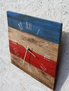 Red White Blue Handpainted ReCycled Pallet Wood by terrafirma79, $35.00
