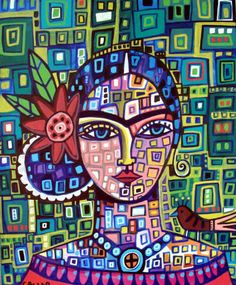 PRINT Frida Kahlo abstract Modern Pop Folk Art Painting
