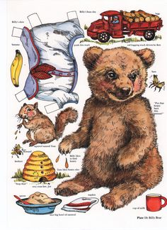 BILLY BEAR Paper Doll and Tom Squirrel and Bees Joe and Howard by Evelyn Gathings