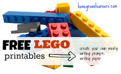free #LEGO printables -- a HUGE selection of coloring pages, notebooking pages, writing prompts, and Language arts lessons!