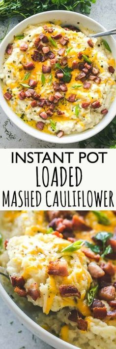 Instant Pot Loaded Mashed Cauliflower – Cheesy, garlicky, flavor loaded mashed cauliflower prepared in the Instant Pot! This is the perfect, most delicious low-carb swap for mashed potatoes! #instantpot #keto #mashedcauliflower #cauliflowermashedpotatoes