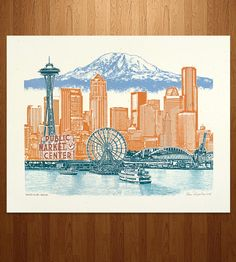 Seattle To Mt Rainier Art Print | For those who left their hearts in the Pacific Northwest, this... | Posters