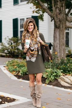 fall outfit ideas, LV neverfull tote GM, dress and tall boots, green dress with plaid blanket scarf and knee-high suede boots at Equinox resort in manchester, VT