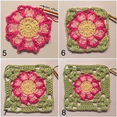 My flower dahlia square, is a true summer square. I have crochet one table runner in this square and I also crocheting on a blanket, but in darker shades of a big colur mix. I have use cotton yarn:…