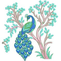 Machine Embroidery Design Vintage Peacock, by paadarclub on Etsy