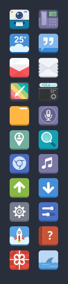 Flat Icons / Flat Design / Icons / Pictograms / Symbols / 3D Flat Icons 2 by Blues design, via Behance
