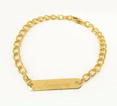 Personalized Bar Bracelet Engraved Silver Bracelet door WYNnecklace