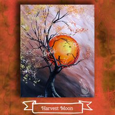 """It's getting close to harvest time! Are you ready for a """"Harvest Moon""""? Be creative with us next Saturday night! Join us at Painting with a Twist – Indy! ©Painting with a Twist."""