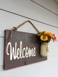 Rustic Outdoor Welcome Sign in Brown Wood Signs by RedRoanSigns