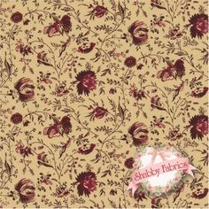 "Penny Rose 618-9 Burgandy by Newcastle Fabrics: Penny Rose is a collection by Newcastle Fabrics. 100% cotton. 43/44"". This fabric features burgandy flowers trailing on a tan background."