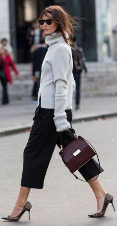 Grey Oversize Sleeve Knitted Turtleneck