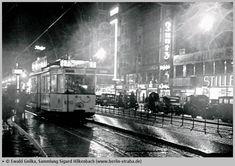 1939:Strassenbahnlinie 7 in der tauentzienstrasse bei Nacht