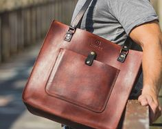 Leather Tote Bag Weekend Bag Day Tripper by BennyBeeLeather