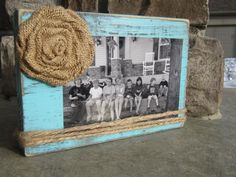 This is a 8x5 repurposed wood block picture frame that can hold up to a 4x6 picture frame. Can also be used to hold recipes, business cards,