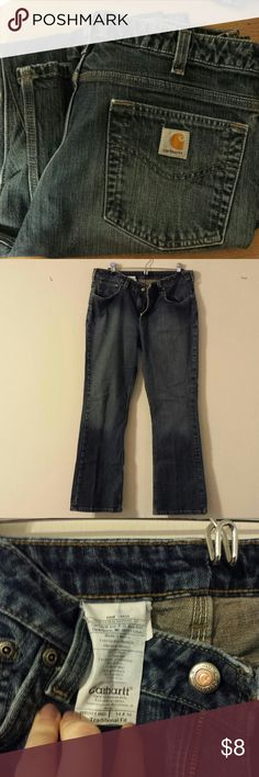 Women's Carhartt boot cut jeans size 14 short Women's Carhartt boot cut jeans size 14 short, when in but still have many miles left in them. They haven't fit me in a while but if I remember correctly they fit more like a 12 than 14. Short length. Great working woman pants. Jeans Boot Cut